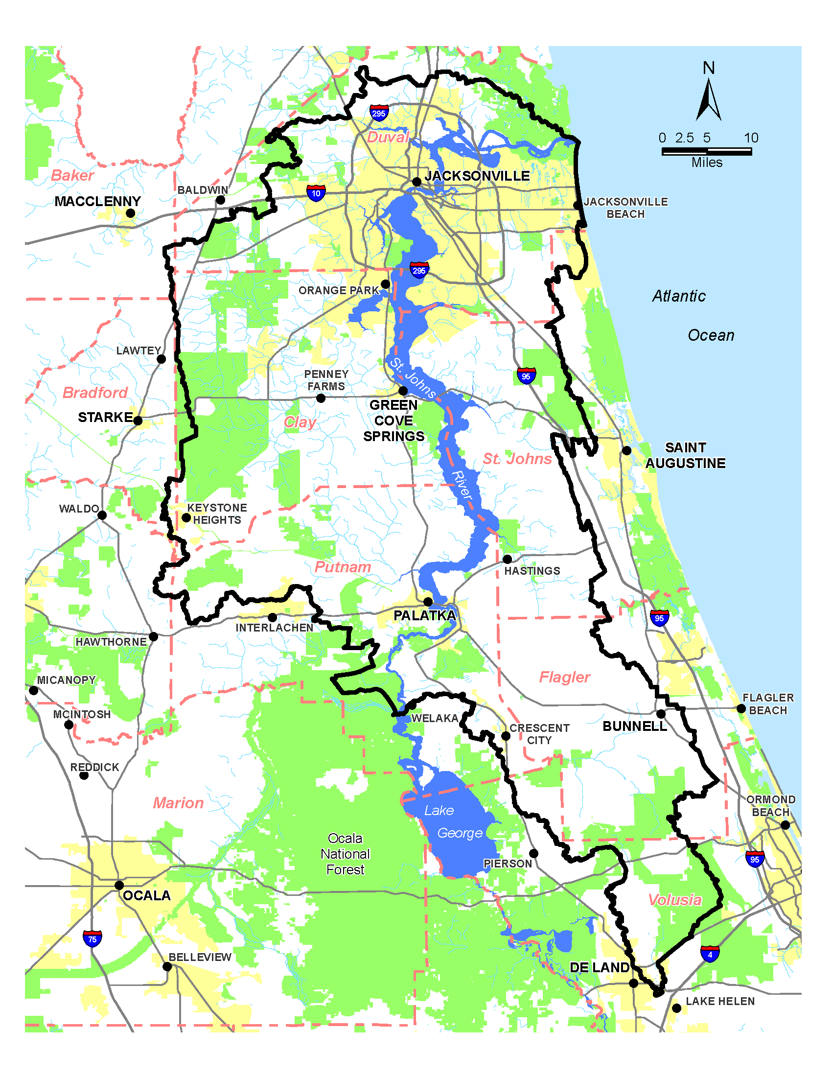Figure 1.1 Geopolitical Map of the Lower St. Johns River Basin, Florida (outlined in black).