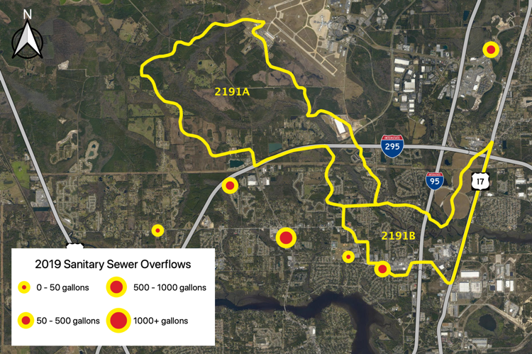 Figure 2.34 The Broward River Tributary (WBID 2191A/B) with sanitary sewer overflows reported by JEA in 2019 (JEA 2019b).