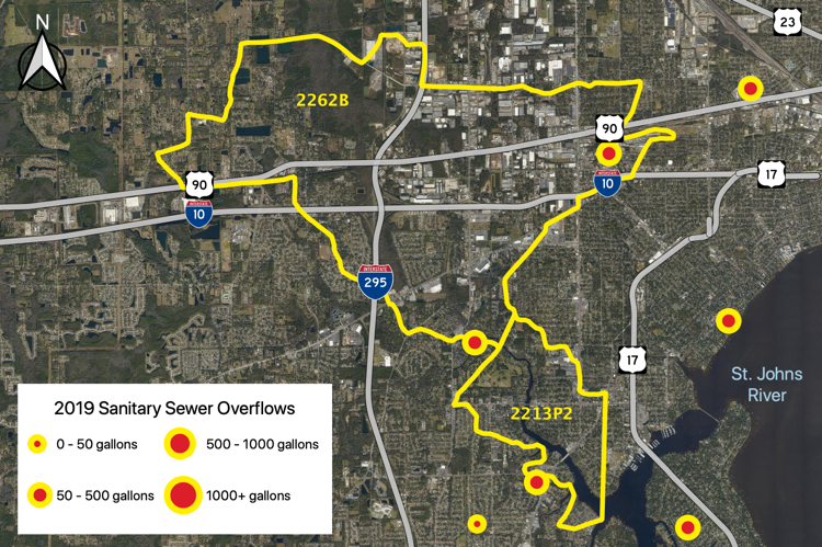 Figure 2.36 The Cedar River Tributary (WBID 2262B and 2213P2) with sanitary sewer overflows reported by JEA in 2019 (JEA 2019b).