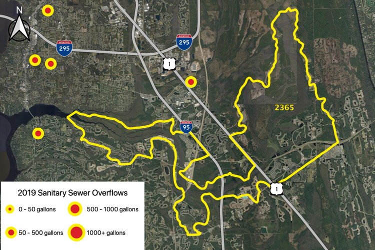 Figure 2.40 The Durbin Creek Tributary (WBID 2365) with sanitary sewer overflows reported by JEA in 2019 (JEA 2019b).