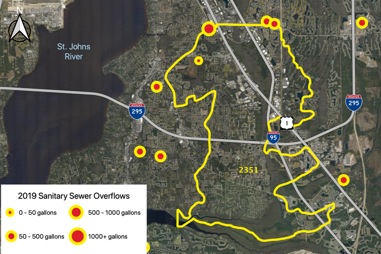 Figure 2.46 The Julington Creek Tributary (WBID 2351) with sanitary sewer overflows reported by JEA in 2019 (JEA 2019b).