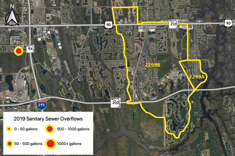 Figure 2.50 Open Creek (WBID 2299A/B) with sanitary sewer overflows reported by JEA in 2019 (JEA 2019b).
