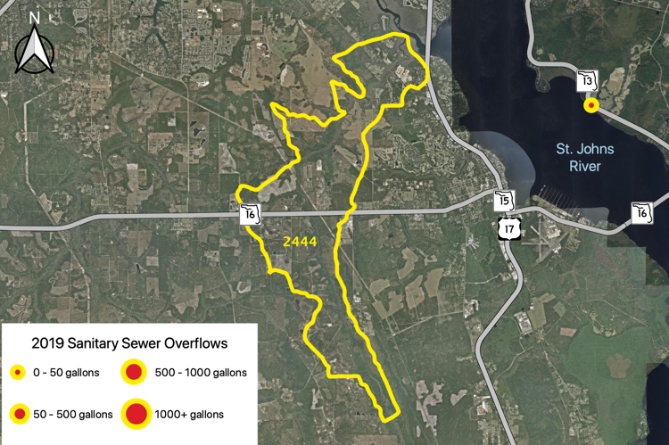Figure 2.52 The Peters Creek Tributary (WBID 2444) with sanitary sewer overflows reported by JEA in 2019 (JEA 2019b).