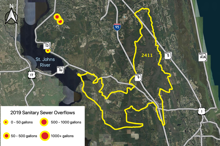Figure 2.56 The Sixmile Creek Tributary (WBID 2411) with sanitary sewer overflows reported by JEA in 2019 (JEA 2019b).