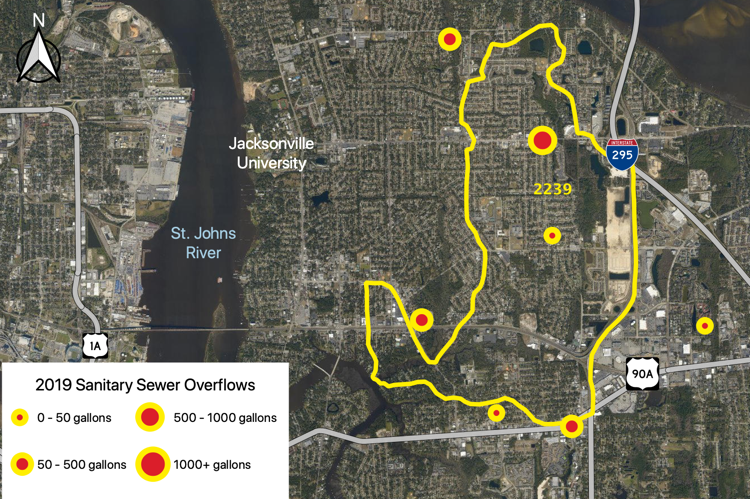 Figure 2.57 The Strawberry Creek Tributary (WBID 2239) with sanitary sewer overflows reported by JEA in 2019 (JEA 2019b).