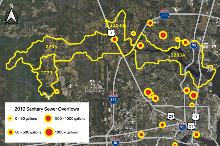 Figure 2.58 The Trout River Tributary (WBIDs 2203/2203A/2223) with sanitary sewer overflows reported by JEA in 2019 (JEA 2019b).