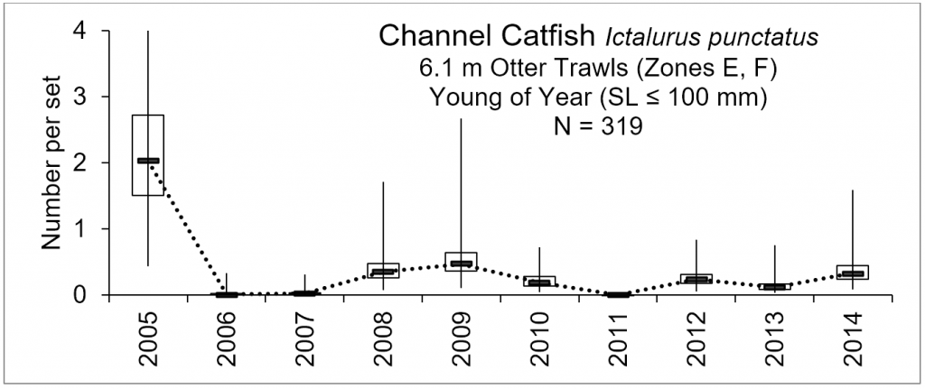 Line chart – number of young of the year, channel catfish caught within the lower basin of the St. Johns River from 2005-2014.