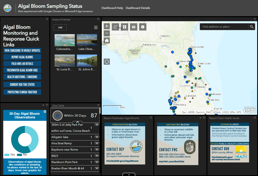 Figure 2.21 Algal Bloom Sampling Status Dashboard. Screenshot from (DEP 2019a).
