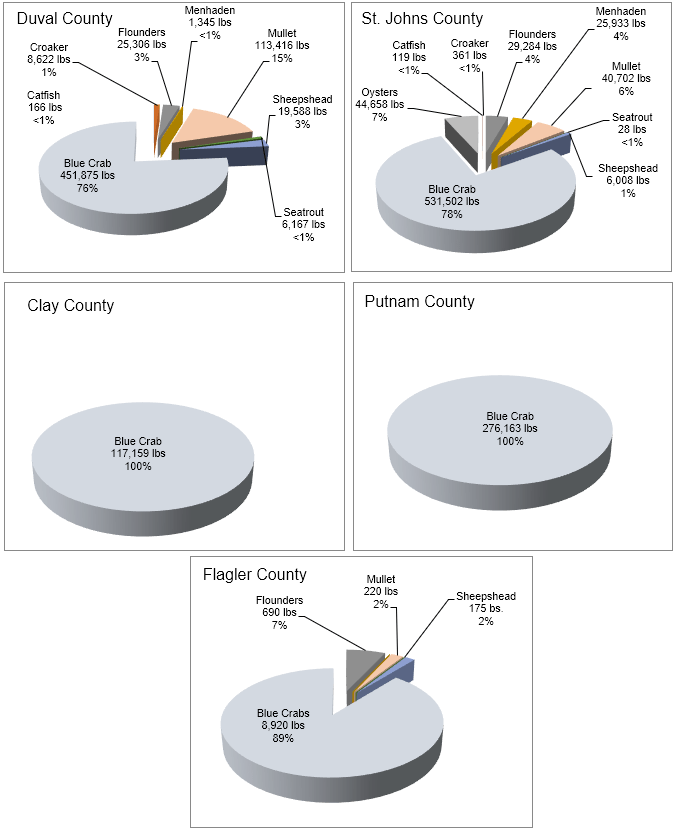 Figure 3.1 Percent comparison of commercially important fish and invertebrates caught by fisherman of five counties associated with the lower basin of the St. Johns River in 2017. These data do not differentiate between fish and invertebrates caught in the St. Johns River or the Intracoastal Waterway (ICW).