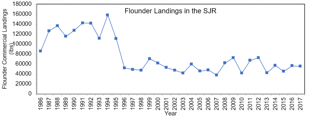 Figure 3.13 Commercial landings (in lbs) of southern flounder within the Lower Basin of the St. Johns River from 1986-2017 (FWRI 2019a).