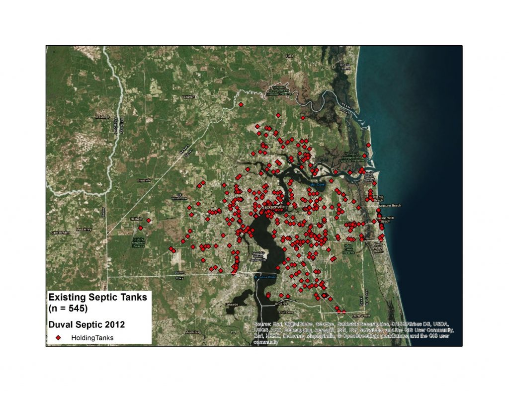 Map of Existing septic holding tanks 1992 – 2012.
