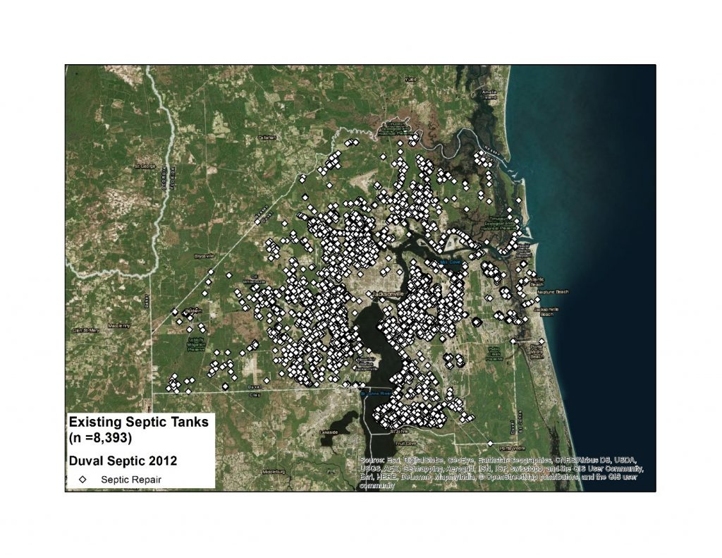 Map of existing repaired septic tanks 1992 – 2012.