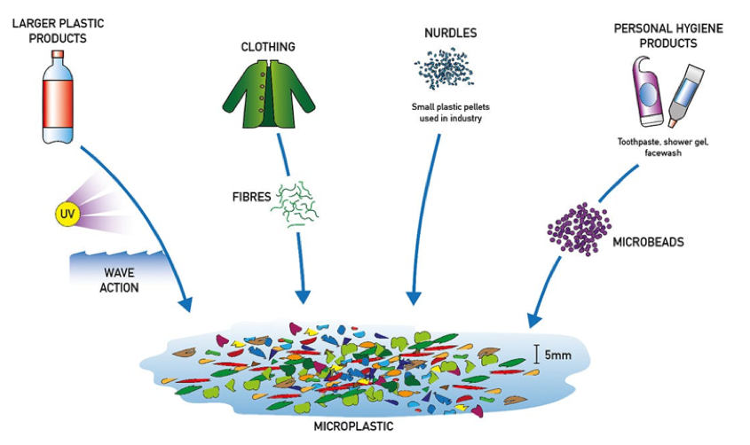 Figure H-2. Sources of Primary and Secondary Microplastics. Image Credit: EncounterEdu.