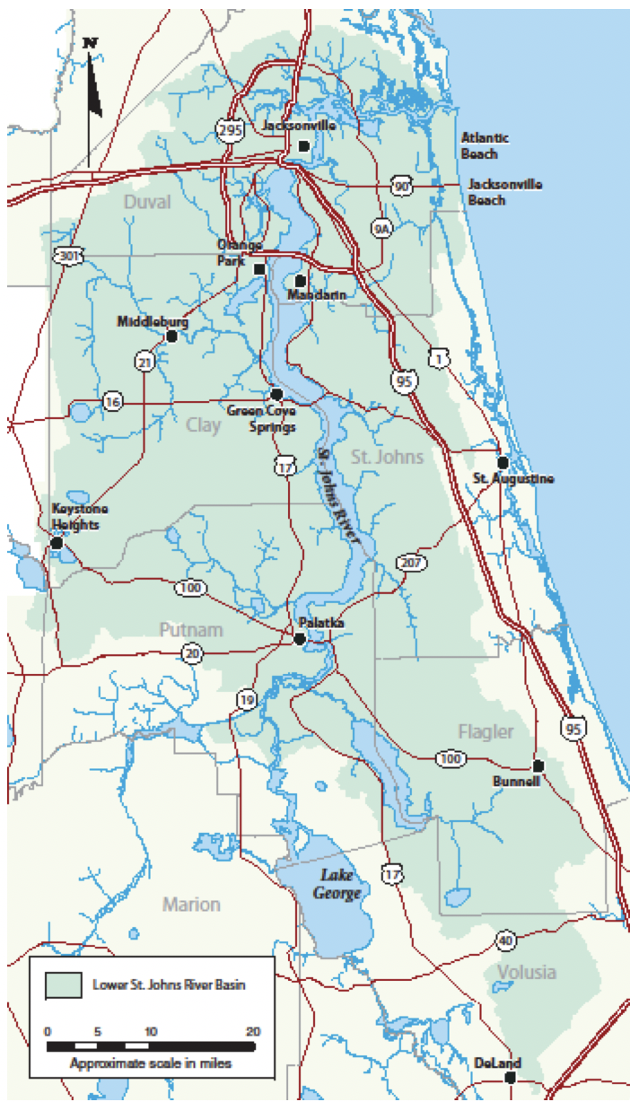 Figure 1.1 Geopolitical Map of the Lower St. Johns River Basin, Florida (basin shaded in green; SJRWMD 2020g).